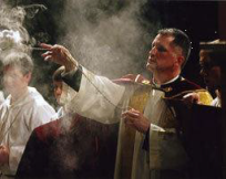 Father Brian incensing the Blessed Sacrament